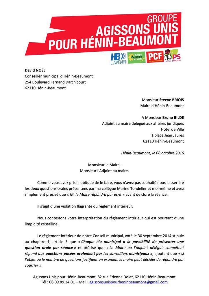 Questions orales au conseil municipal : la préfecture du Pas-de-Calais enjoint à Steeve Briois de laisser les élus d'opposition s'exprimer