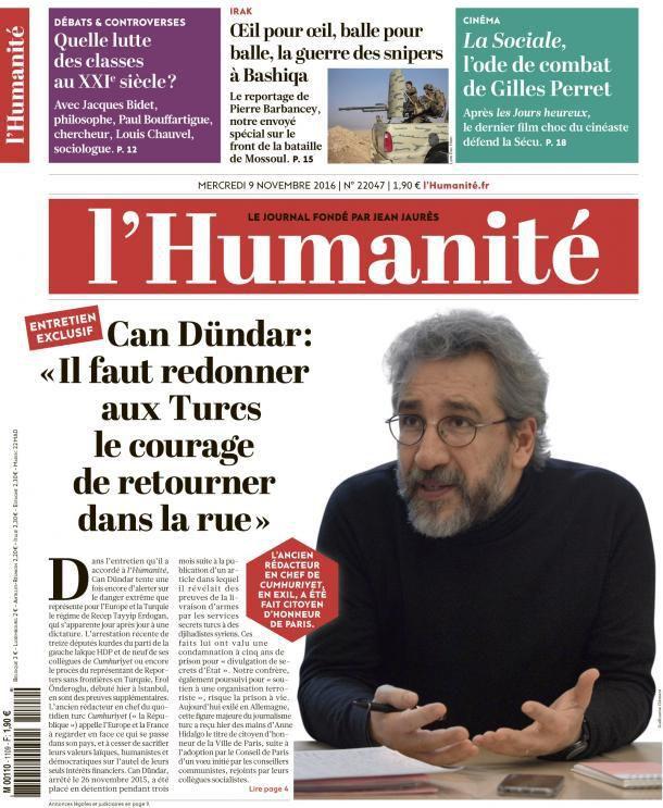 A la une de l'Humanité (09-11-16)