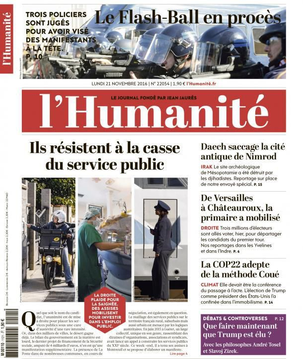 A la une de l'Humanité (21-11-16)