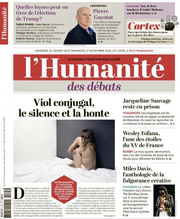 A la une de l'Humanité (25-11-16)
