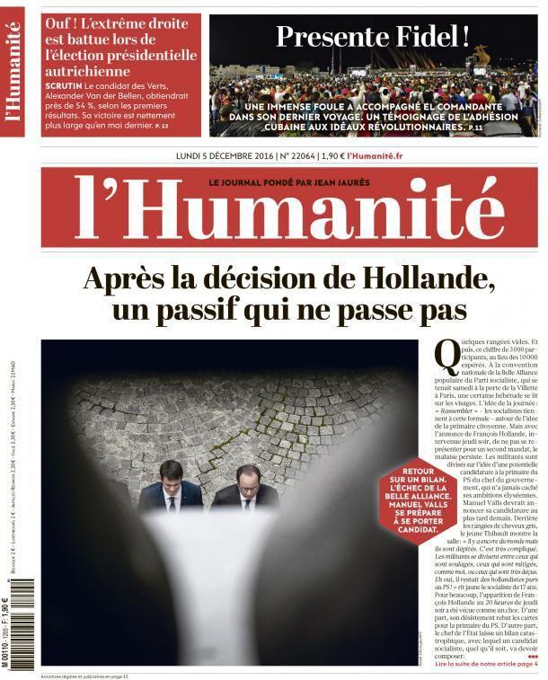 A la une de l'Humanité (05-12-16)