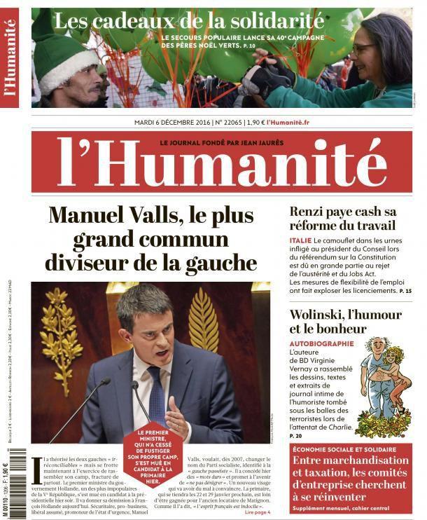 A la une de l'Humanité (06-12-16)