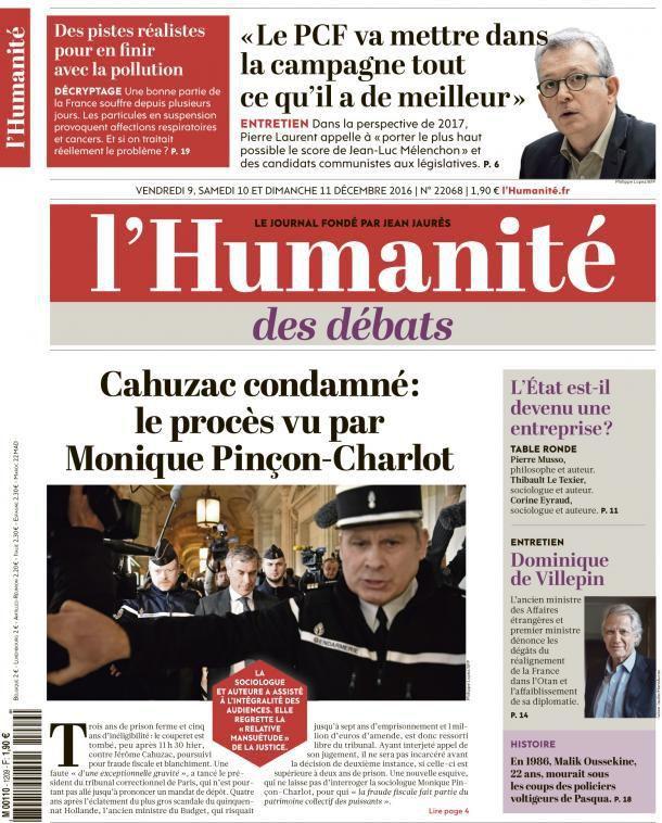 A la une de l'Humanité (09-12-16)