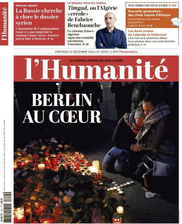 A la une de l'Humanité (21-12-16)