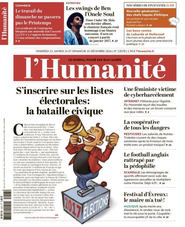 A la une de l'Humanité (23-12-16)