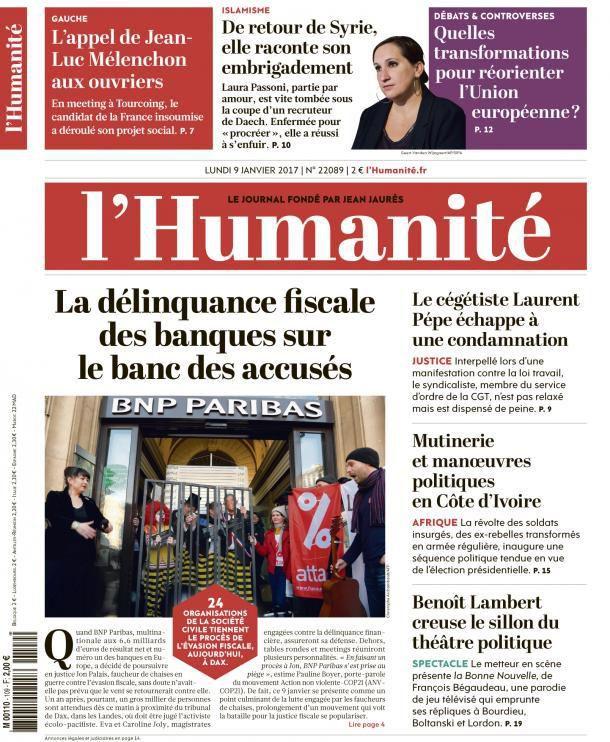 A la une de l'Humanité (09-01-17)