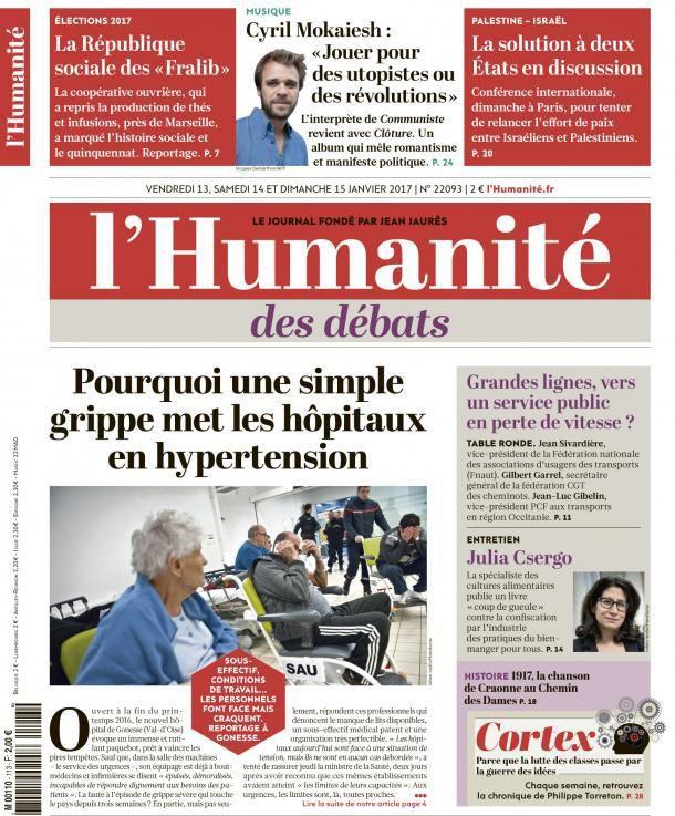 A la une de l'Humanité (13-01-17)