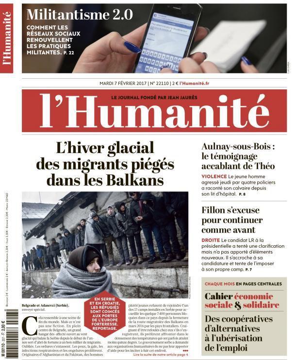 A la une de l'Humanité (07-02-17)