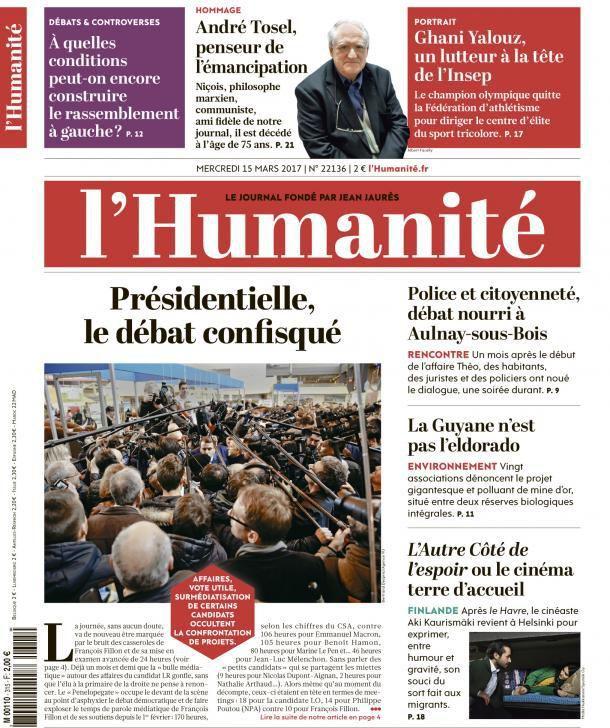 A la une de l'Humanité (15-03-17)