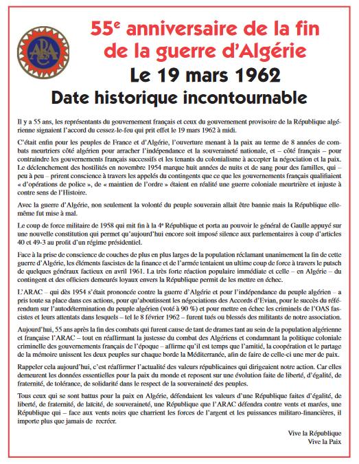 55ème anniversaire de la fin de la guerre d'Algérie : le 19 mars 1962, date historique incontournable