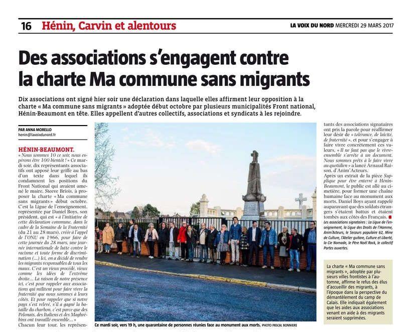 Des associations s'engagent contre la charte Ma commune sans migrants