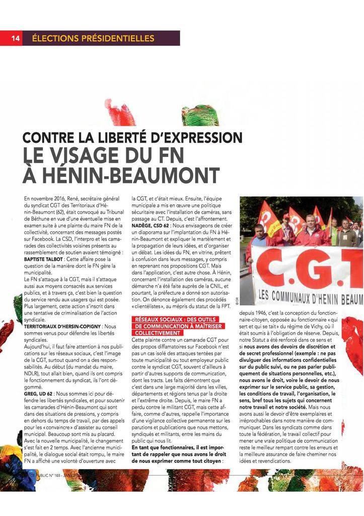 Contre la liberté d'expression, le visage du FN à Hénin-Beaumont