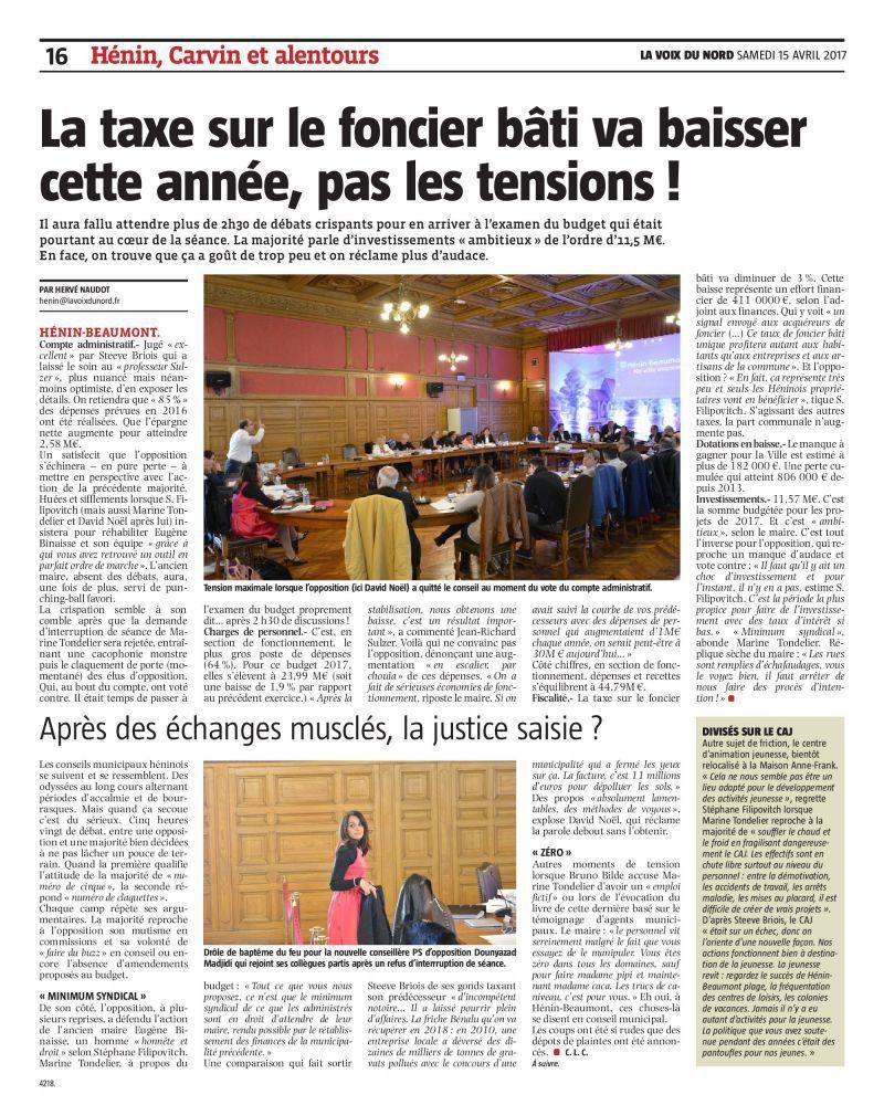 Conseil municipal du 14/04/17 : le compte-rendu de la Voix du Nord (1)