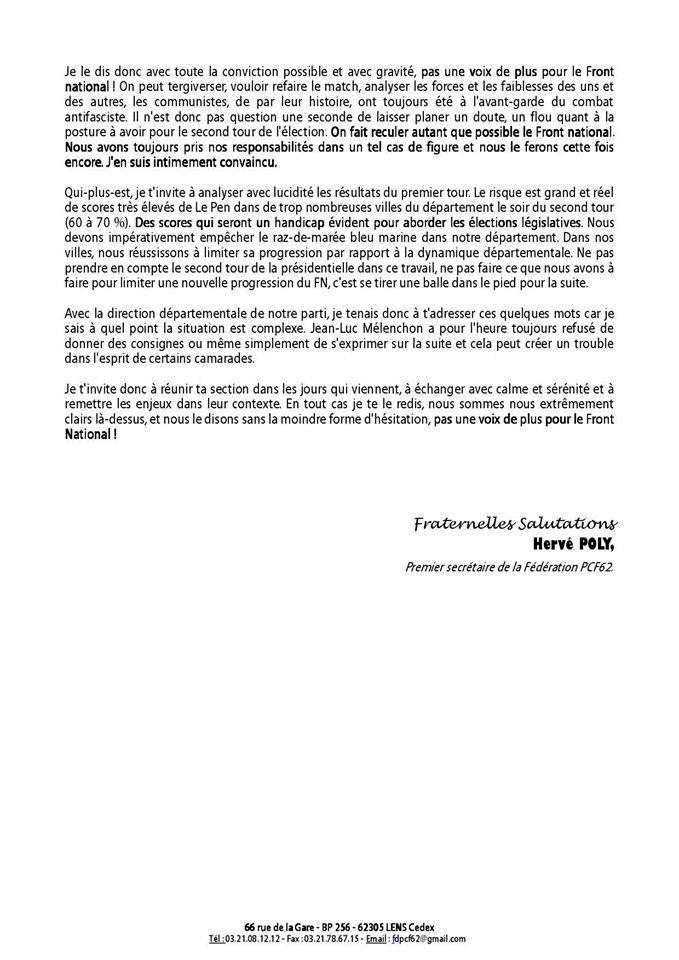 Second tour des élections présidentielles : courrier d'Hervé Poly aux adhérents communistes du Pas-de-Calais