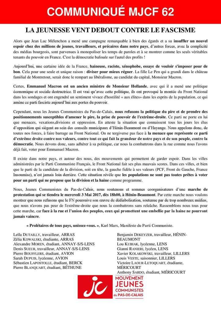 La jeunesse vent debout contre le fascisme : la JC du 62 appelle à barrer la route au FN le 7 mai