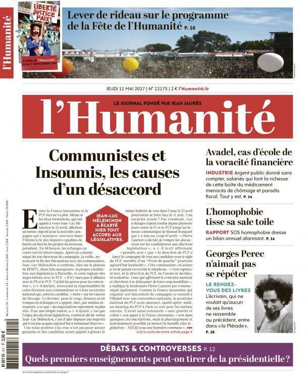 A la une de l'Humanité (11-05-17)