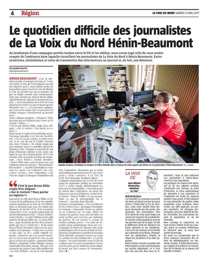 Le quotidien difficile des journalistes de la Voix du Nord Hénin-Beaumont