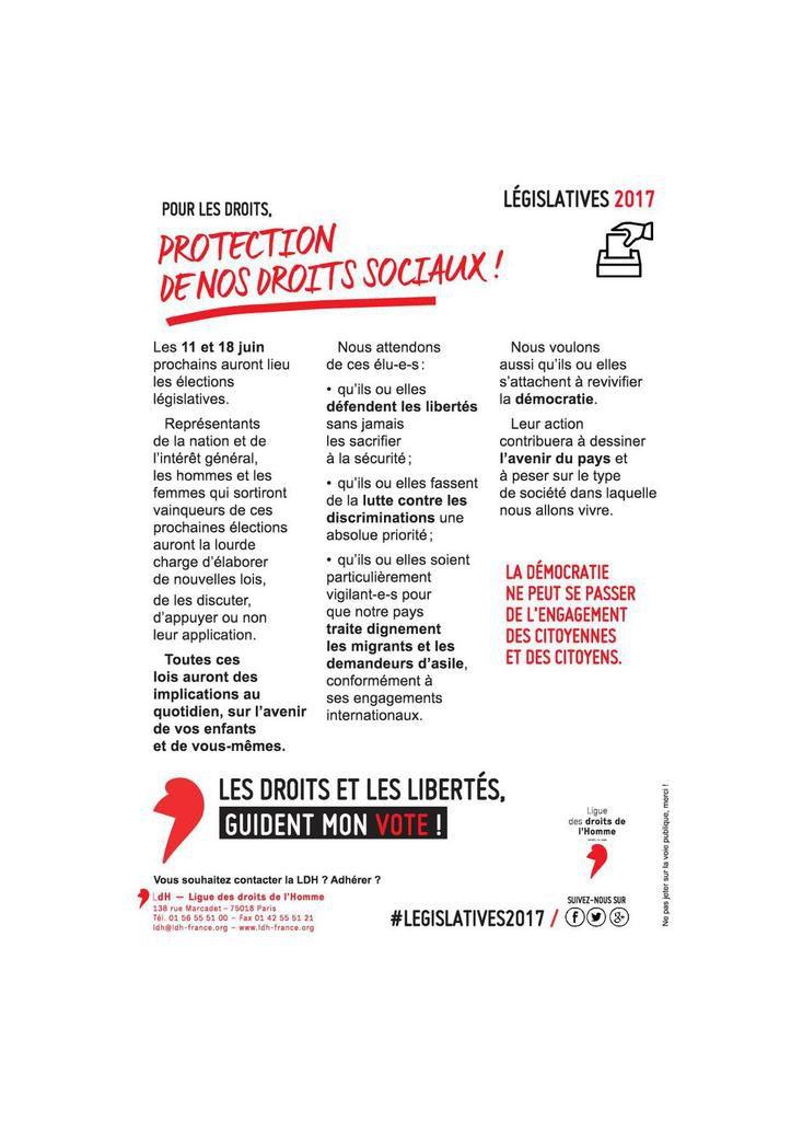 Législatives 2017 : pour les droits, protection de nos droits sociaux !