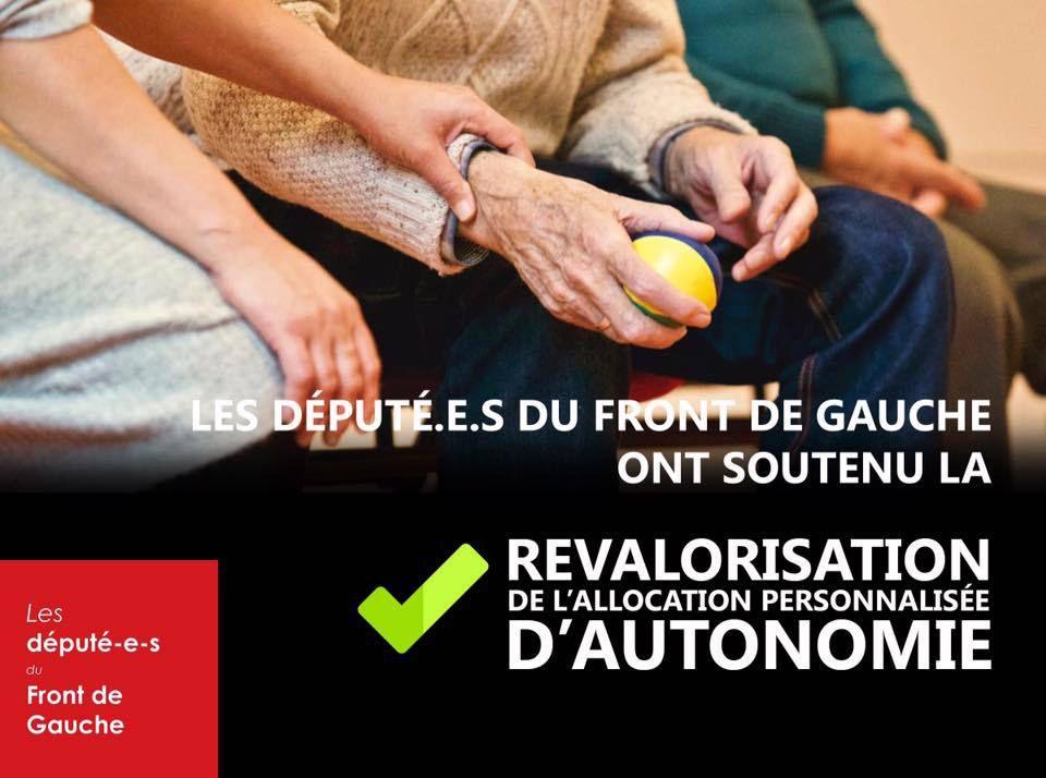Les député-e-s du Front de Gauche ont soutenu la revalorisation de l'Allocation Personnalisée d'autonomie