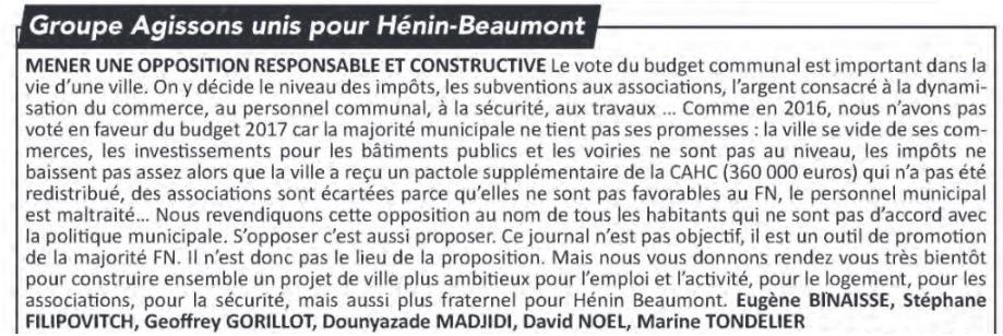 La tribune libre de l'opposition (Hénin-Beaumont c'est vous n°34, juin 2017)