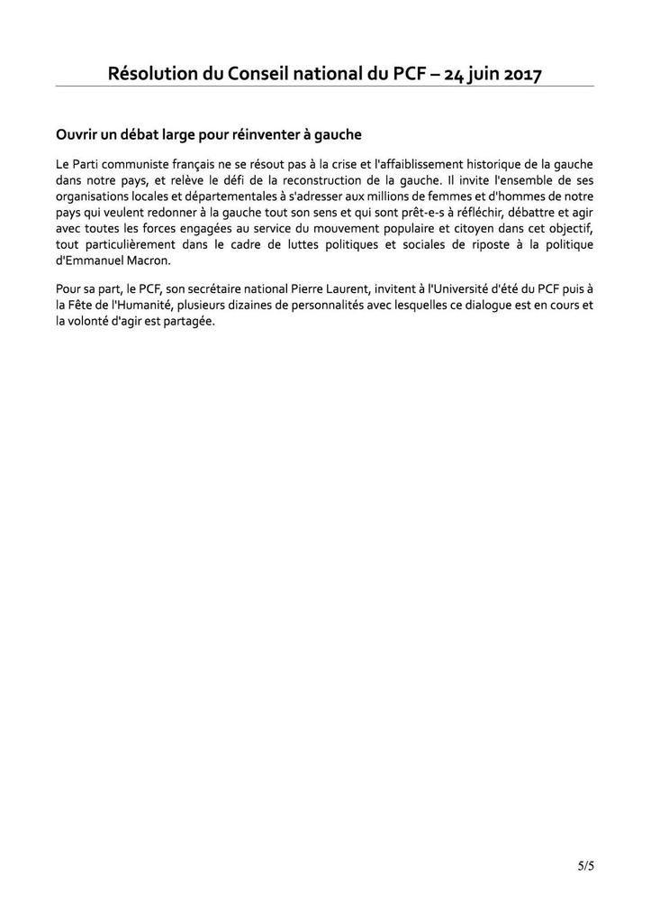 Conseil national du PCF des 23 et 24 juin 2017 : le rapport de Pierre Laurent et la résolution adoptée par le Conseil National