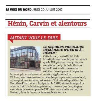 Autant vous le dire (20-07-17) : Le Secours Populaire déménage d'Hénin... à Hénin !