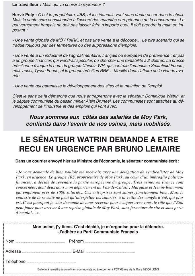 Moy Park : Pas question de payer les pots de vin du brésilien JBS