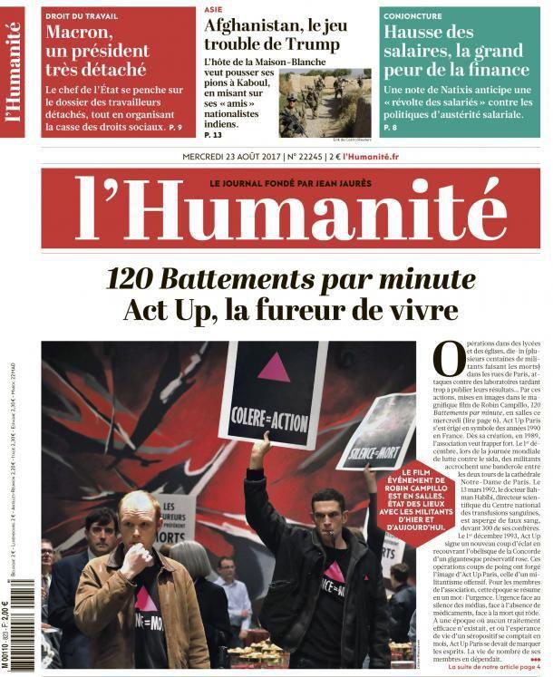 A la une de l'Humanité (23-08-17)