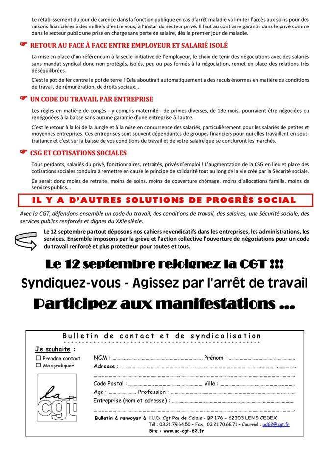 Loi travail et manifestation du 12 septembre : le tract de la CGT du Pas-de-Calais