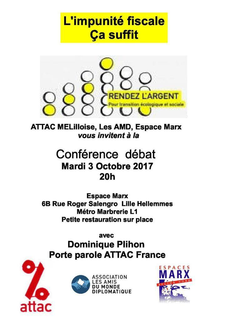 Une conférence débat sur l'impunité fiscale le 3 octobre à Hellemmes