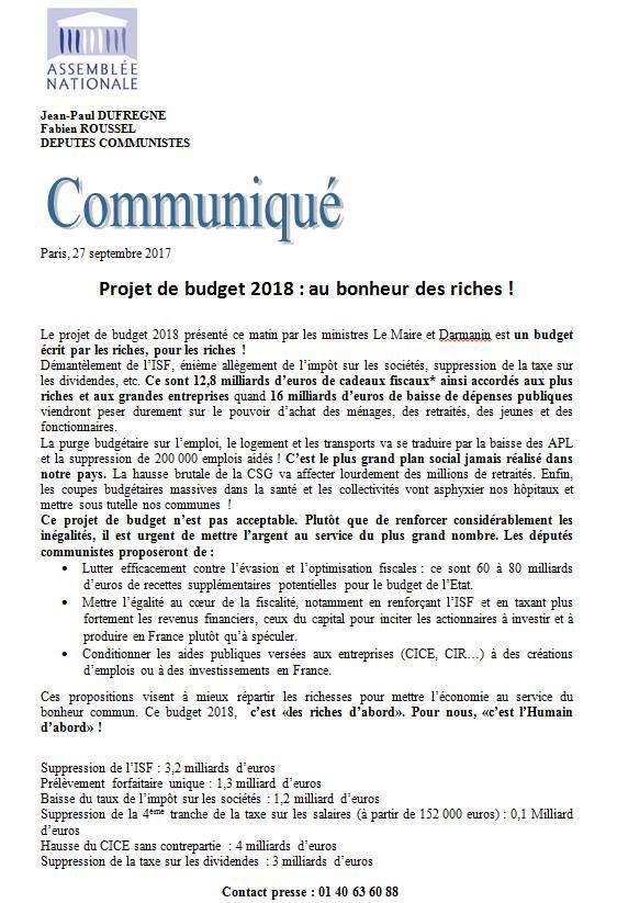 Projet de budget 2018 : au bonheur des riches !