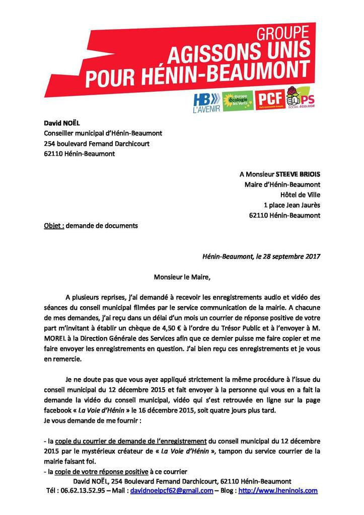 Demande de documents adressée à Steeve Briois