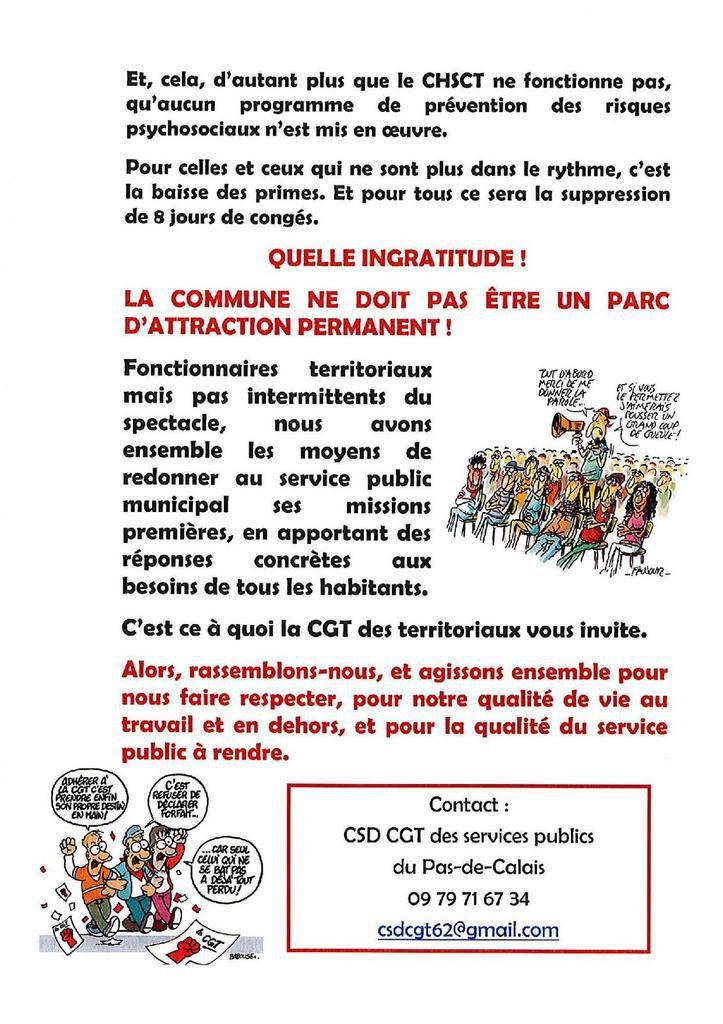 Hénin-Land : le nouveau tract de la CGT Territoriaux dénonce une ville devenue un parc d'attraction permanent au détriment des agents de la ville