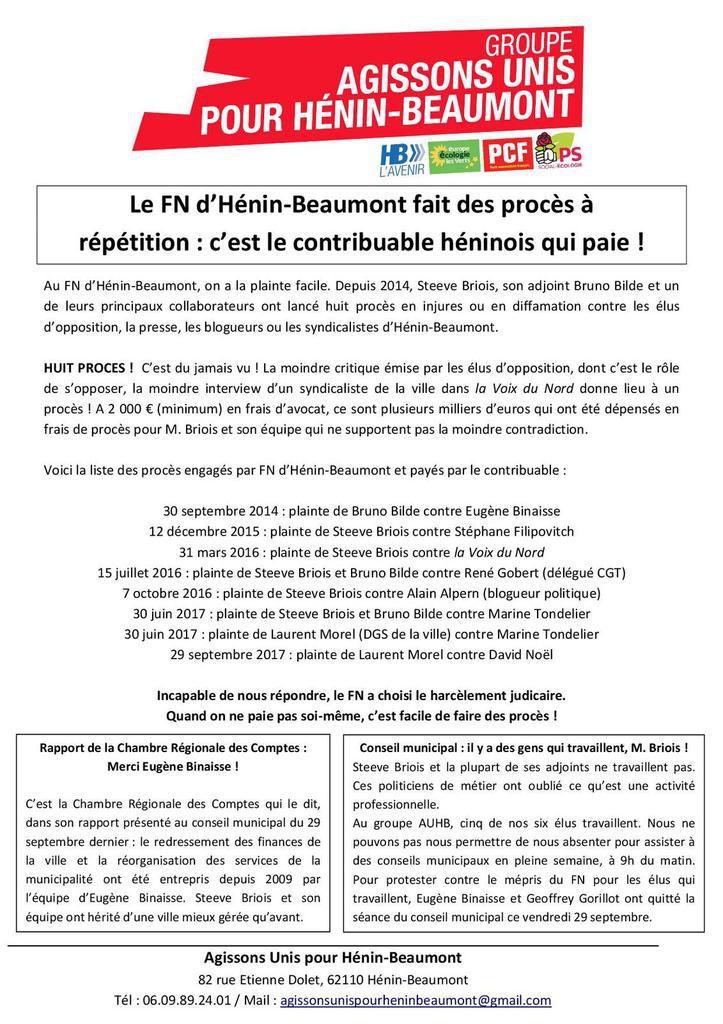 Affaire Fessard, rapport de la CRC, procès à répétition : le nouveau tract du groupe Agissons Unis pour Hénin-Beaumont