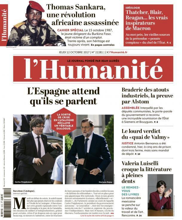 A la une de l'Humanité (12-10-17)