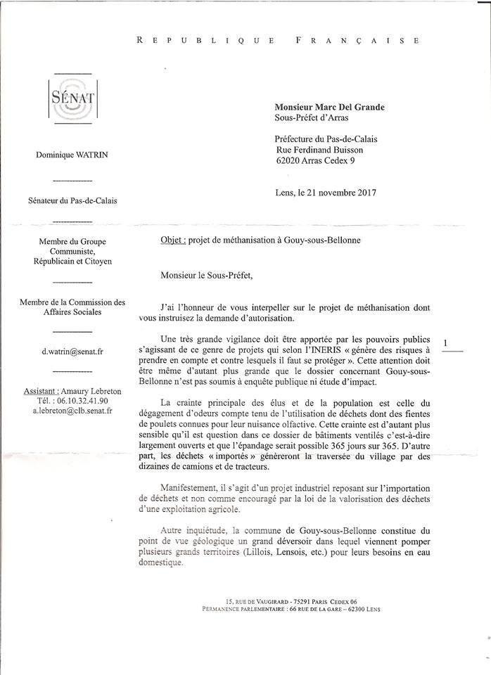 Projet de méthanisation à Gouy-sous-Bellonne : Dominique Watrin fait part de son inquiétude au sous-préfet d'Arras