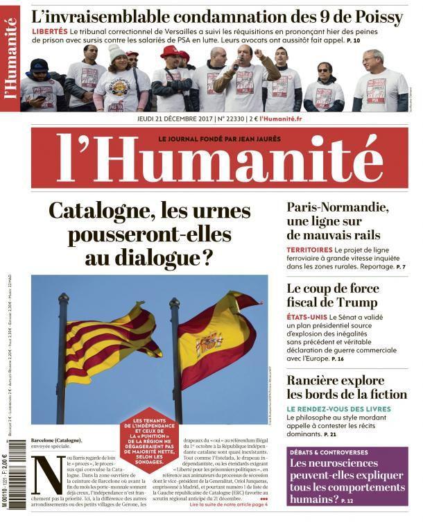 A la une de l'Humanité (21-12-17)