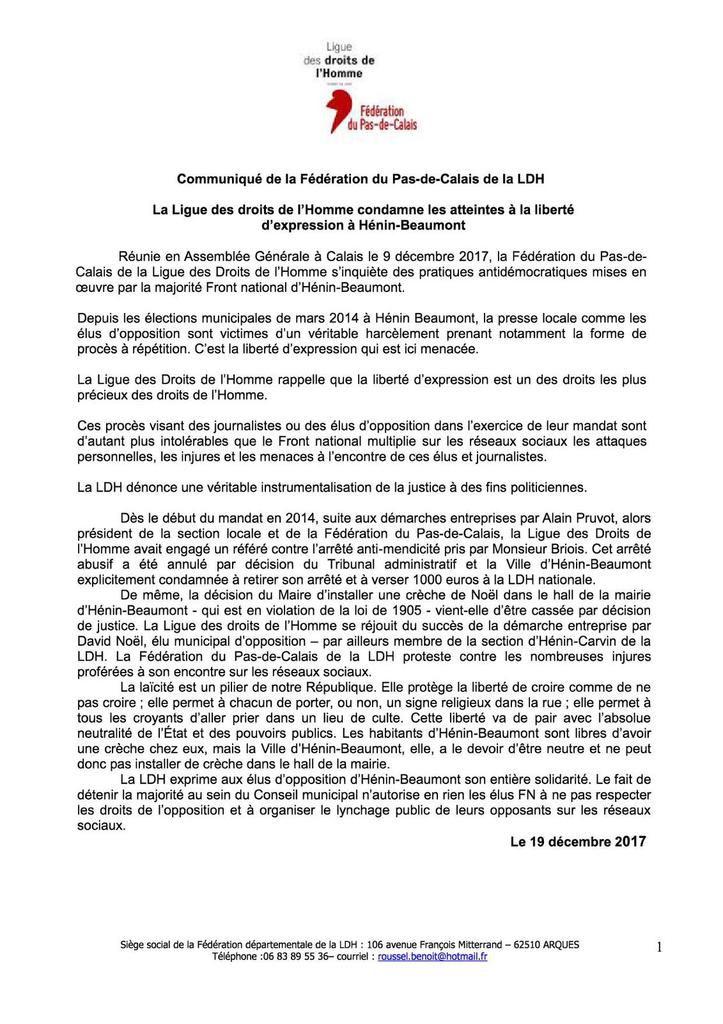La Ligue des Droits de l'Homme condamne les atteintes à la liberté d'expression à Hénin-Beaumont