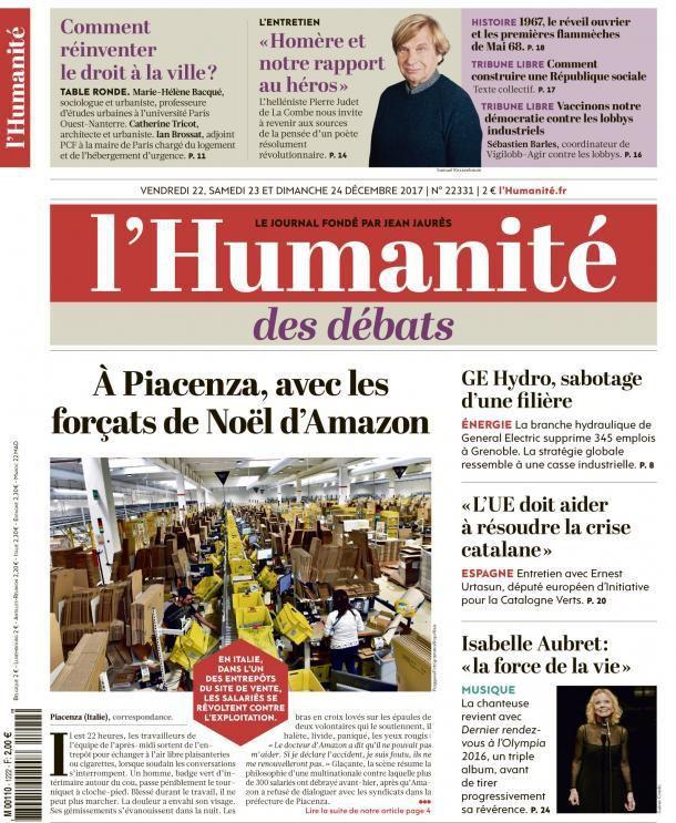 A la une de l'Humanité (22-12-17)