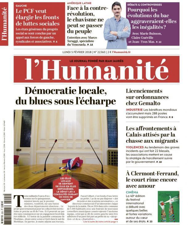 A la une de l'Humanité (05-02-18)