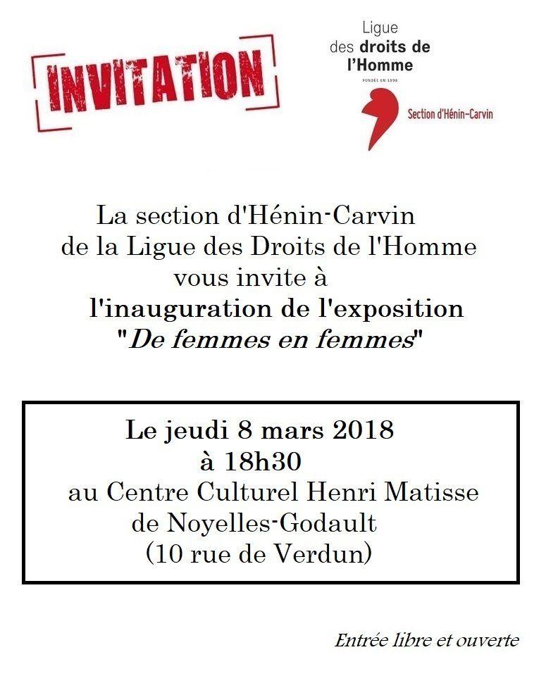 Une exposition sur les droits des femmes au Centre Culturel Matisse de Noyelles-Godault organisée par la LDH d'Hénin-Carvin