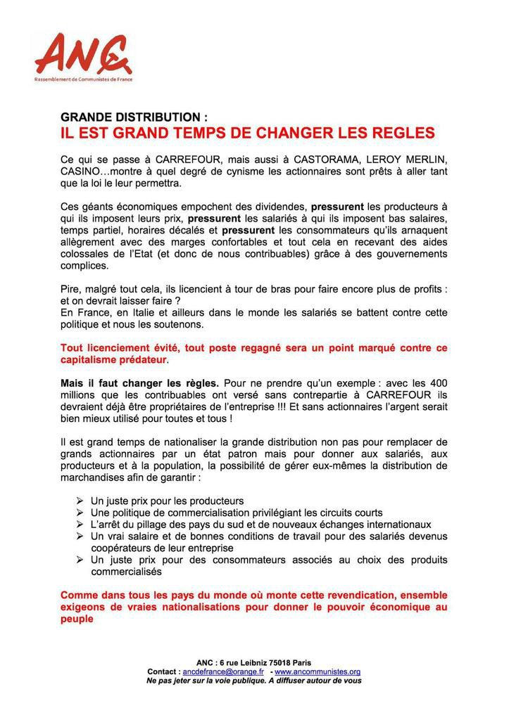 Grande distribution : un tract de l'Association nationale des communistes