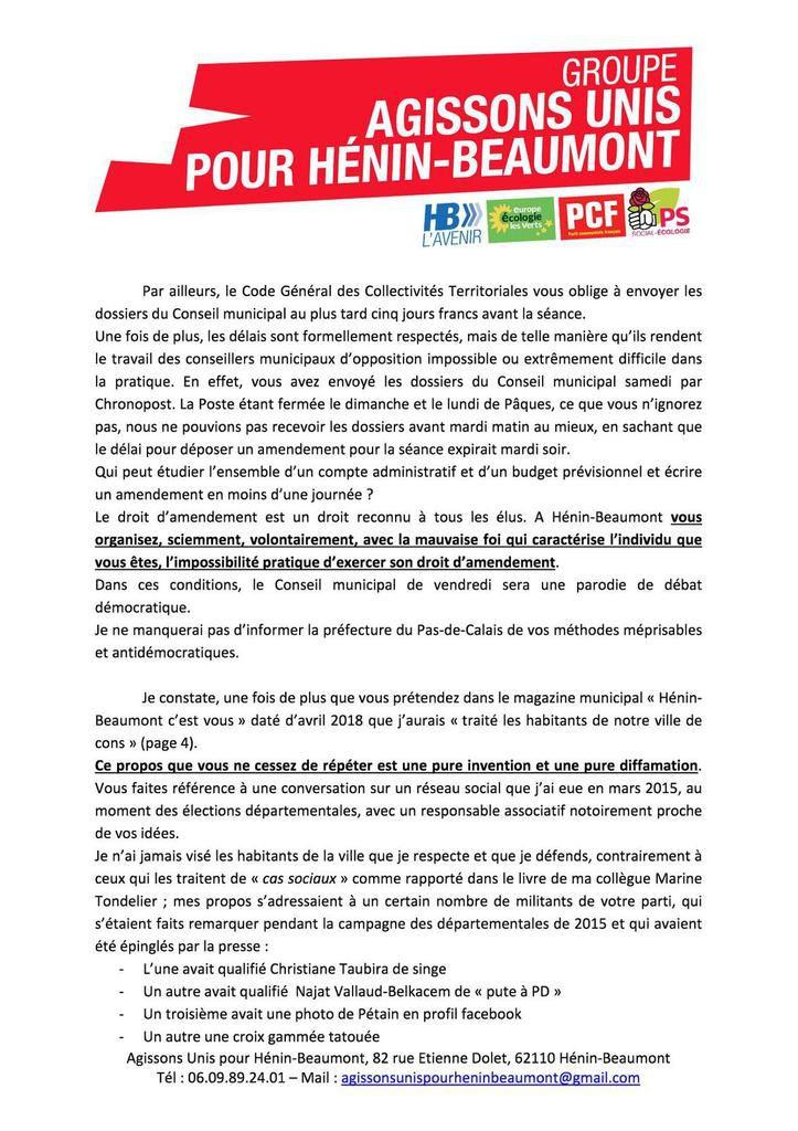 Conseil municipal : lettre ouverte à Steeve Briois