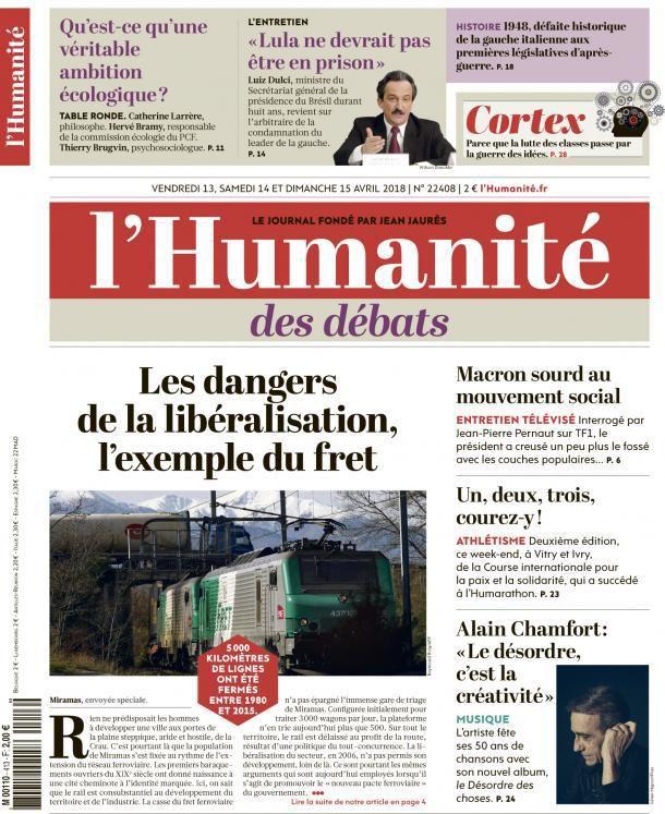 A la une de l'Humanité (13-04-18)