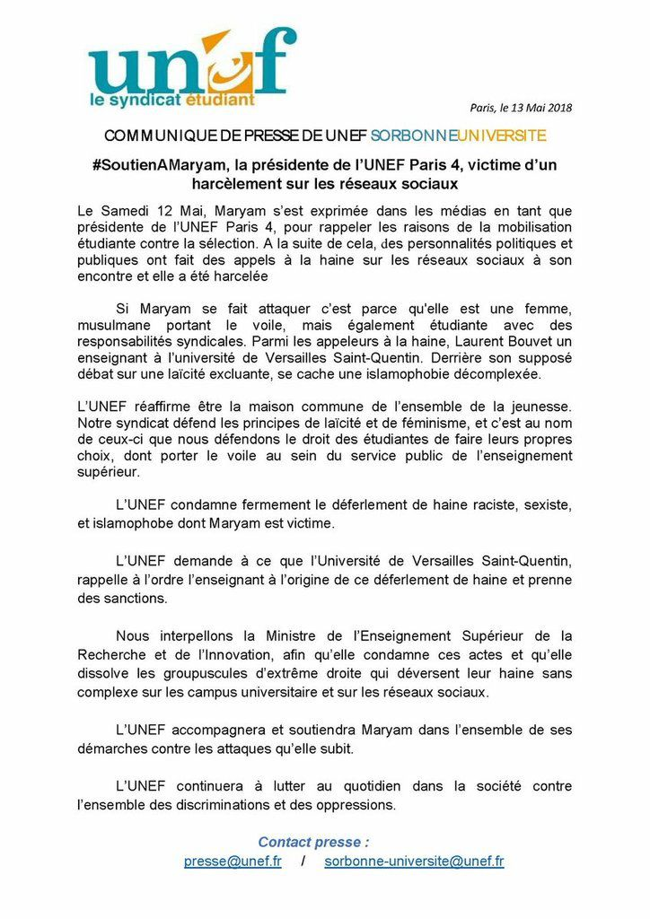 Soutien à Maryam, la présidente de l'UNEF Paris IV, victime d'un harcèlement sur les réseaux sociaux