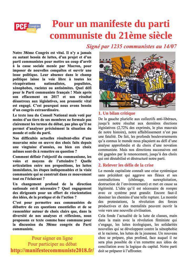 Pour un manifeste du parti communiste du XXIe siècle : le résumé de la base commune alternative