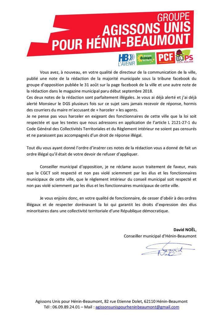 Droits de réponse sous nos tribunes : mon courrier au directeur de la communication de la ville d'Hénin-Beaumont
