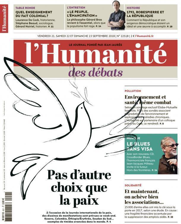 A la une de l'Humanité (21-09-18)