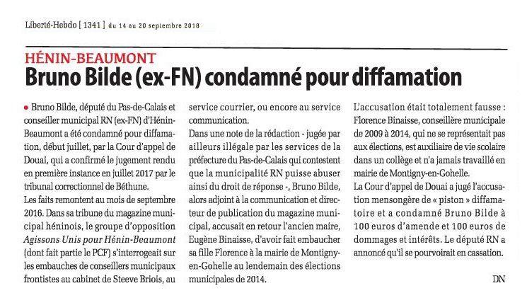 Bruno Bilde (ex-FN) condamné pour diffamation