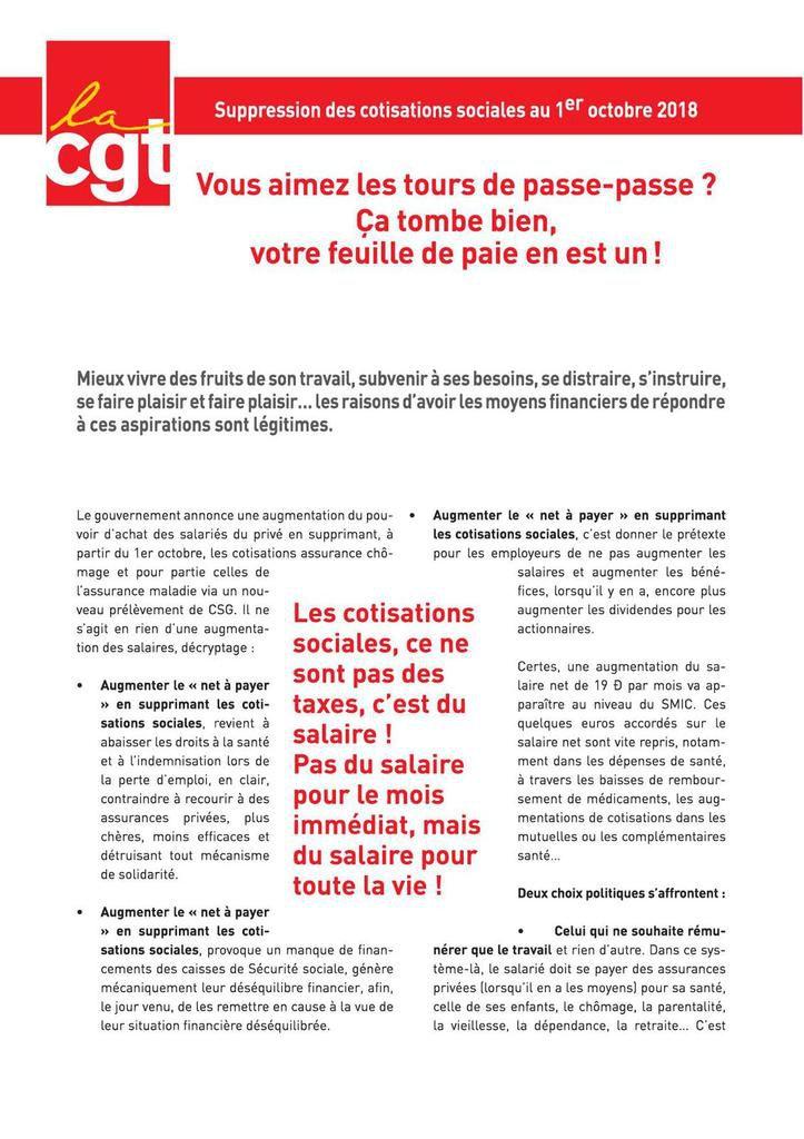 Suppression des cotisations sociales : la CGT dénonce un tour de passe-passe